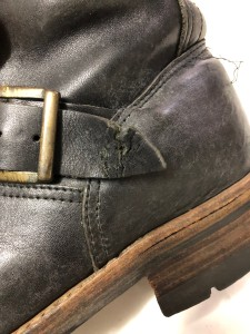 エンジニアブーツソール交換 革破れ 東京都 目黒区ブーツリペア 武蔵小山靴修理 革製品修理 バッグ修理 ロンゴロンゴ